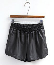 $7.15 Solid Color Simple Style Faux Leather Shorts For Women