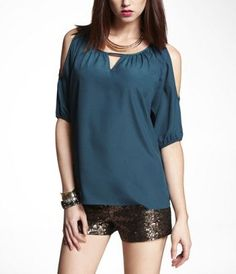 DOLMAN SLEEVE COLD SHOULDER BLOUSE at Express