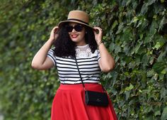 Stripe Top, Red Skirt, Leopard Shoes.  I wish I looked this good in red!