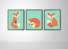 Foxes Set of Three Fox Art Print Posters - Fox Nursery Art - Kids Room Fox Print - Fox Art - Fox Print - Aqua Blue and Orange Wall Decor on Etsy, $27.94 CAD