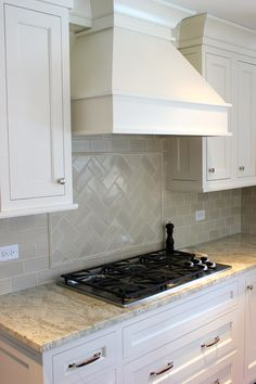 Decorative Subway Tile Backsplash Designs Image Gallery in Kitchen Transitional design ideas with Decorative Bremtown Cabinetry cabinet hood cabinet pantry cherry island chimney hood cooktop cream