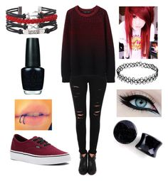 """""""Red for the Cancer, Red for the Wealthy - Emo Outfit"""" by mrosep on Polyvore featuring Frame Denim, Proenza Schouler, Vans and OPI"""