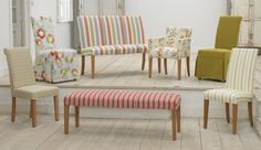 Multiyork Dining Chairs, Ely, Hendon, Marlow and Cuba.  We have changed the fabric for that Spring look, all replaceable covers.  Mix and match around your Dining Table.