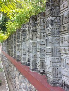 Stone wall at sendansono-magelang, indonesia