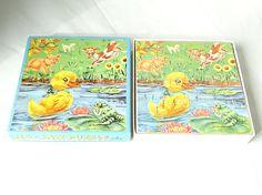 Vintage Puzzle Wooden Puzzle Vintage Toy Duckling Toy