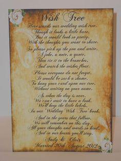 VINTAGE WEDDING WISH TREE POEM SIGN,