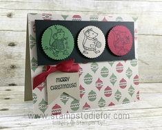 Stampin Up Merry Mice Stamp Set Christmas Card - no coloring - Merry Christmouse! www.stampstodiefor.com