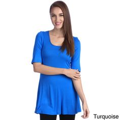 24/7 Comfort Apparel Women's 3/4-sleeve Tunic | Overstock.com Shopping - The Best Prices on 24/7 Comfort Apparel 3/4 Sleeve Shirts