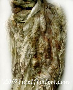 Khaki Eco Printed Textured Nuno Felted Scarf by lizetfrijters, $75.00