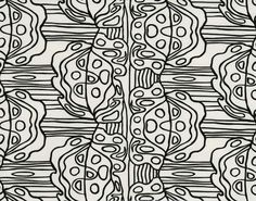 A variation on the cell in a composition of stylised leaves. The motif is embroidered in black, on a 100% cotton background.