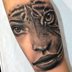 Cool Girl With Tiger on Head Tattoo Design, Half Lion Face on Forearm Tattoo Idea. - Cool Girl With Tiger on Head Tattoo Design, Half Lion Face on Forearm Tattoo Idea Amazing beautiful - Dope Tattoos, 3d Tattoos, Trendy Tattoos, Forearm Tattoos, Body Art Tattoos, Small Tattoos, Sleeve Tattoos, Tattoos For Women, Scorpio Tattoos