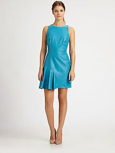 Milly Saxon Pleated Leather Dress