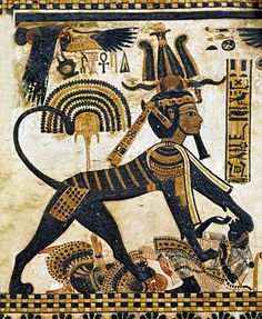 Tutankhamun represented as a sphinx, crushing the bodies of Egypt's enemies.