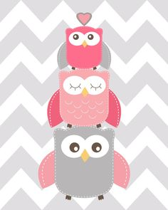 Owl nursery decor Pink and Grey Nursery Read me a por ChicWallArt