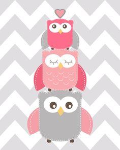 Owl nursery decor Pink and Grey Nursery Read me a por ChicWallArt