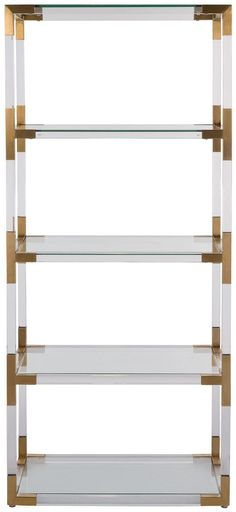 Adler Acrylic & Glass Bookshelf with Bronze Brass Accents - ON BACKORDER