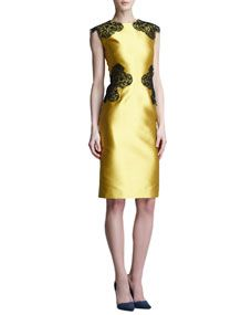 Lela Rose Placed Lace Satin Sheath Dress 36cb8c2c5f7