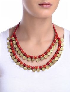 Buy Golden Red Hand Knotted Two Line Brass Beads Necklace Metal Alloy Cotton Thread Jewelry Fashion Celebrations Festive Necklaces Online at Jaypore.com