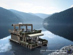 Cabin on the lake - floating architecture project by RAUM // Visualization by ETAJ4
