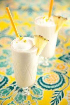 Fresh pineapple, coconut milk, banana, honey  ice. a healthy Hawaiian blizzard :)(:
