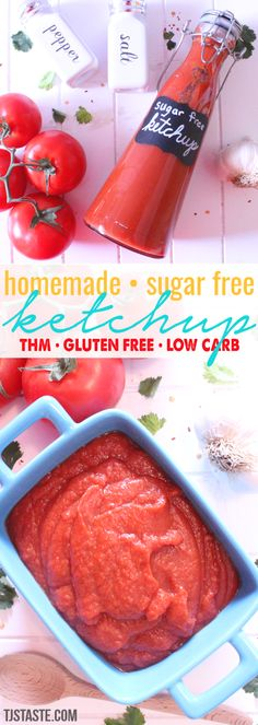 Homemade Sugar Free Ketchup - - This low carb, low fat, sugar free ketchup contains all of the salty, tangy flavor of traditional ketchup without all the bad stuff. Hcg Diet Recipes, Sugar Free Recipes, Low Carb Recipes, Diabetic Recipes, Vegan Recipes, Keto Sauces, Low Carb Sauces, Sugar Free Ketchup, Trim Healthy Mama Plan