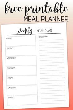 Weekly menu planner with grocery list to … Free Printable Meal Planning Template. Weekly menu planner with grocery list to help you get organized and stay on budget.