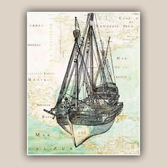 Nautical print Old vessel sailboat on antique  map of East Coast  America, 11x14  LARGE SIZE PRINT Matte Print, vintage map illustration