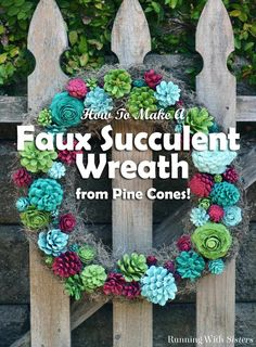 DIY Faux Succulent Wreath - Made with Pine Cones! This craft tutorial shows how to paint pine cones to look like succulents (including what colors of craft paint to use), how to arrange and hot glue the pine cones onto a grapevine wreath, and how to finish it with Spanish moss. Includes a complete list of materials and step photos. Colorful door decoration for any time of year!