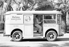 Helms Bakery trucks once delivered freshly baked goods to neighborhoods across Southern California. Here's a truck and its driver in 1931, the year the bakery debuted its fleet.