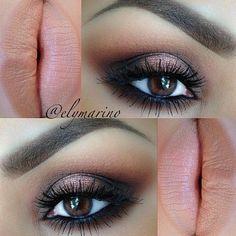 gorgeous brown/black smokey eye with nude lip. gonna do this eye look for work tomorrow ;)