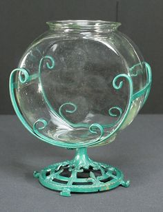 Wrought & Cast Iron Antique Fish Bowl Stand With 2 Gallon Clear Glass Bowl  on ebay, buy it now, 299.99