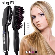 New Gernation 110v~220v Anti-hot Straightener Comb 30s fast heating 8S fast straight Hair Smooth Brush A2