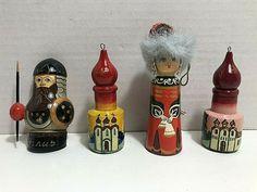 Vintage RUSSIAN WOOD Doll Christmas Ornaments Hand Painted #Unbranded #Christmas Hand Painted Ornaments, Vintage Holiday, Beer, Dolls, Christmas Ornaments, Tableware, Wood, Root Beer, Baby Dolls
