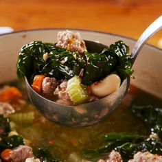 We turn to this soup when we're trying to be healthy—it's super hearty and will keep you full for HOURS. And honestly, you won't miss the… Bean Soup Recipes, Kale Recipes, Healthy Soup Recipes, Cooking Recipes, White Bean Recipes, Clean Eating Snacks, Healthy Eating, Sausage And Kale Soup, Sausage Meals