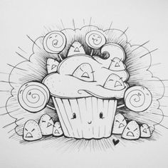 - You can't enjoy the sweet, without the sour (>_<) Pretty Drawings, Easy Drawings, Awesome Drawings, Kawaii Doodles, Kawaii Art, Character Illustration, Illustration Art, Doodle Monster, Doodle Inspiration