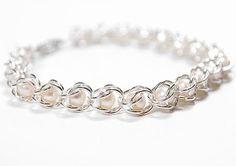Chain maille,  chain maille tutorial, chain maille bracelet, bracelet with pearl, jewelry, Do it yourself, DIY, tutorial