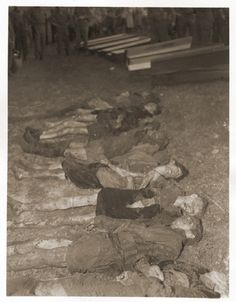 The bodies of Jewish women exhumed from a mass grave near Volary. The victims died at the end of a death march from Helmbrechts, a subcamp of Flossenbürg. Volary, Czechoslovakia, May 11, 1945.