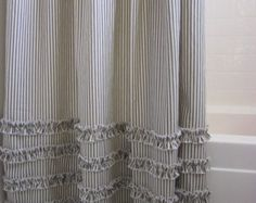 Vintage Ticking Stripe Shower Curtain with Ruffles - 72x72 IN STOCK Grey, Black, Brown, Navy, Red, custom sizes available
