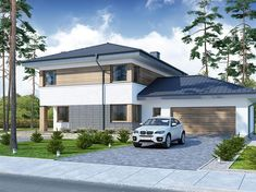 Projekt domu piętrowego Telmun 2 o pow. 167,08 m2 z obszernym garażem, z dachem kopertowym, z tarasem, sprawdź! Exterior Design, Planer, Home Goods, Garage Doors, Windows, Mansions, Contemporary, Outdoor Decor, Home Decor