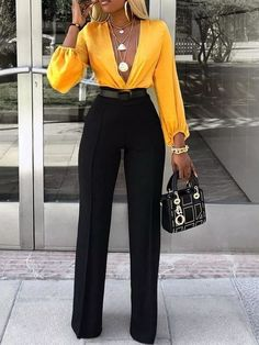 Full Length Patchwork Color Block Western High Waist Women's Jumpsuit The Effective Pictures We Offer You About Jumpsuit dressy A quality picture can tell you many things. Mode Outfits, Fall Outfits, Fashion Outfits, Womens Fashion, Fashion Pants, Ladies Fashion, Summer Outfits, Outfit Winter, Fashion Sandals