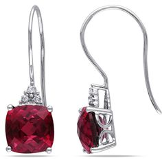 Miadora 10k White Gold Diamond and Created Ruby Earrings ($135) ❤ liked on Polyvore featuring jewelry, earrings, red, square earrings, long earrings, diamond jewelry, round earrings and diamond earrings
