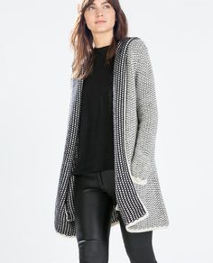 Image 2 of KNIT HOODED CARDIGAN from Zara