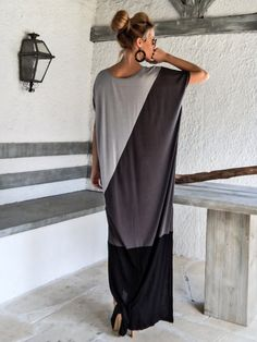 Black & Gray Maxi Dress / Black Gray Kaftan / Plus Size Dress / Oversize Loose Dress / #35073  This elegant, sophisticated, loose and comfortable