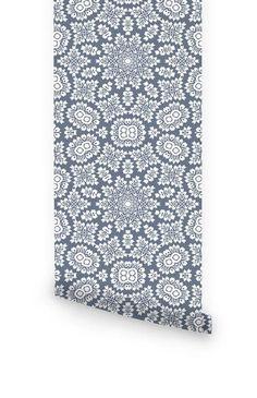 Bermuda grey lace wallpaper - Livettes