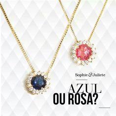 www.sophiejuliete.com.br/estilista/nandabordon Colares delicados semi joia ouro zirconias pink blue