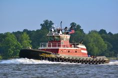 The Reid McAllister, tooling past City Park on the Delaware River. Tugboats, Delaware River, Water Crafts, Park City, Past, Train, Boats, Past Tense, Strollers