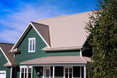 Best Taupe White Trim Gray Metal Roof House Plans 400 x 300