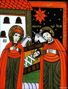 Christian Paintings, Christian Art, The Birth Of Christ, Holy Family, Orthodox Icons, Mexican Folk Art, Medieval Art, Religious Art, Bingo