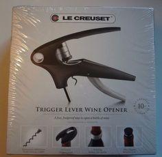 Le Creuset Trigger Lever Wine Opener NWT Black, Glass-Filled Nylon Resin  #LeCreuset