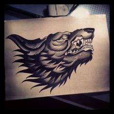 """Awesome wolf head (favorite between the two) to use if can't use full wolf body (preferred full body)     Represents my protectoress and spirit animal.  Add scroll with """"Fear Not!"""" on it and another with """"Luke 12:25""""...perhaps head on a shield?"""